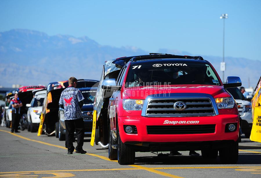 Oct. 30, 2011; Las Vegas, NV, USA: The tow vehicle for NHRA funny car driver Cruz Pedregon during the Big O Tires Nationals at The Strip at Las Vegas Motor Speedway. Mandatory Credit: Mark J. Rebilas-