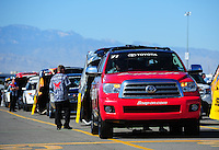 Oct. 30, 2011; Las Vegas, NV, USA: The tow vehicle for NHRA funny car driver Cruz Pedregon during the Big O Tires Nationals at The Strip at Las Vegas Motor Speedway. Mandatory Credit: Mark J. Rebilas-