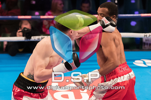 Ricky Heavens vs Jordan Grannum 4 x 3 Super Welterweight Contest During Hayemaker Ringstar: Double Header Infinitum Fight Night (C5). Photo by: Simon Downing.<br /> <br /> Saturday March 17th 2018 - York Hall, Bethnal Green, London, United Kingdom.