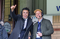 Luke O'Nien of Wycombe Wanderers commentates with BBC 3 counties Phil Catchpole  during the Sky Bet League 2 match between Wycombe Wanderers and Barnet at Adams Park, High Wycombe, England on 16 April 2016. Photo by Andy Rowland.