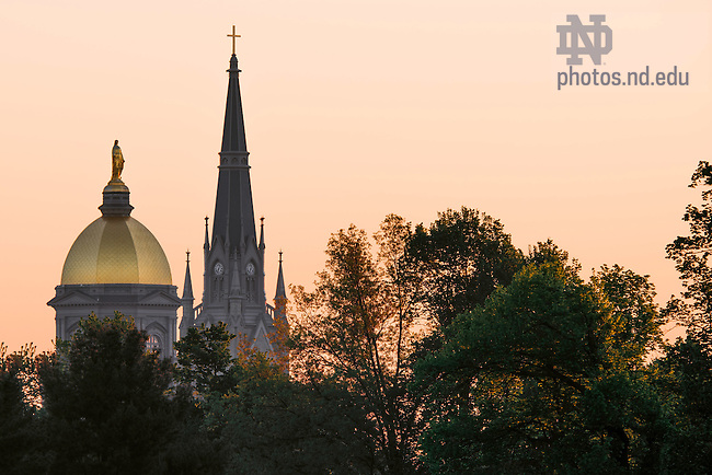 May 19, 2016; Dome and Basilica steeple at sunrise. (Photo by Matt Cashore/University of Notre Dame)