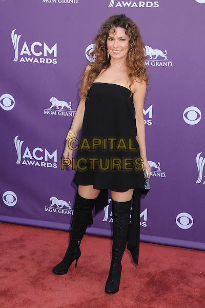 Shania Twain.48th Annual Academy of Country Music Awards - Arrivals held at the MGM Grand Garden Arena, Las Vegas, California, USA..April 7th, 2013.full length black knee high thigh boots otk over the dress strapless   .CAP/ADM/BP.©Byron Purvis/AdMedia/Capital Pictures.