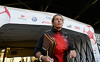 20181009 – BIEL BIENNE , SWITZERLAND : Swiss head coach Martina Voss-Tecklenburg  pictured during the female soccer game between Switzerland and the Belgian Red Flames , the second leg in the semi finals play offs for qualification for the World Championship in France 2019 ; the first leg ended in equality 2-2 ;  Tuesday 9 th october 2018 at The Tissot Arena  in BIEL BIENNE , Switzerland . PHOTO SPORTPIX.BE | DAVID CATRY