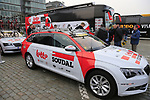 Lotto-Soudal team at the team presentation in Antwerp before the start of the 2019 Ronde Van Vlaanderen 270km from Antwerp to Oudenaarde, Belgium. 7th April 2019.<br /> Picture: Eoin Clarke | Cyclefile<br /> <br /> All photos usage must carry mandatory copyright credit (&copy; Cyclefile | Eoin Clarke)