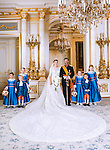 """Wedding of HRH the Hereditary Grand Duke Guillaume and Countess Stéphanie de Lannoy.Official Wedding photograph at the Grand-Ducal Palace, Luxembourg_20-10-2012.Left to Right: Miss Isaure de le Court, Comtesse Louise de Lannoy, Mr Lancelot de le Court, Crown Prince Guillaume, Crown Princess Stephanie, Comtesse Caroline de Lannoy, Miss Madeleine Hamilton, Mr Gabriel de Luxembourg.Mandatory credit photo: ©Grand-Ducal Court/Christian Aschman/NEWSPIX INTERNATIONAL..(Failure to credit will incur a surcharge of 100% of reproduction fees)..                **ALL FEES PAYABLE TO: """"NEWSPIX INTERNATIONAL""""**..IMMEDIATE CONFIRMATION OF USAGE REQUIRED:.Newspix International, 31 Chinnery Hill, Bishop's Stortford, ENGLAND CM23 3PS.Tel:+441279 324672  ; Fax: +441279656877.Mobile:  07775681153.e-mail: info@newspixinternational.co.uk"""