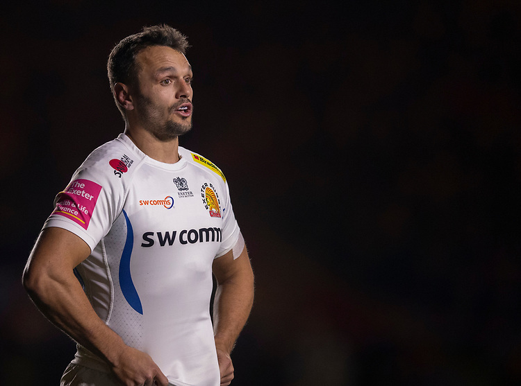 Exeter Chiefs' Phil Dollman<br /> <br /> Photographer Bob Bradford/CameraSport<br /> <br /> Gallagher Premiership Round 9 - Harlequins v Exeter Chiefs - Friday 30th November 2018 - Twickenham Stoop - London<br /> <br /> World Copyright © 2018 CameraSport. All rights reserved. 43 Linden Ave. Countesthorpe. Leicester. England. LE8 5PG - Tel: +44 (0) 116 277 4147 - admin@camerasport.com - www.camerasport.com