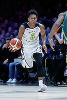 July 14, 2016: TRA HOLDER (6) of the Arizona State Sun Devils dribbles the ball during game 2 of the Australian Boomers Farewell Series between the Australian Boomers and the American PAC-12 All-Stars at Hisense Arena in Melbourne, Australia. Sydney Low/AsteriskImages.com