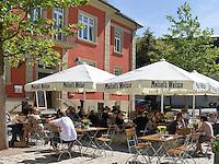Germany, Baden-Wuerttemberg, Markgraefler Land, Muellheim, cafe and tourist information at Markgraefler square