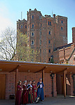 Female singers in costume at Layer Marney Tower the tallest Tudor gatehouse in England built 1520, Layer Marney, Essex, England