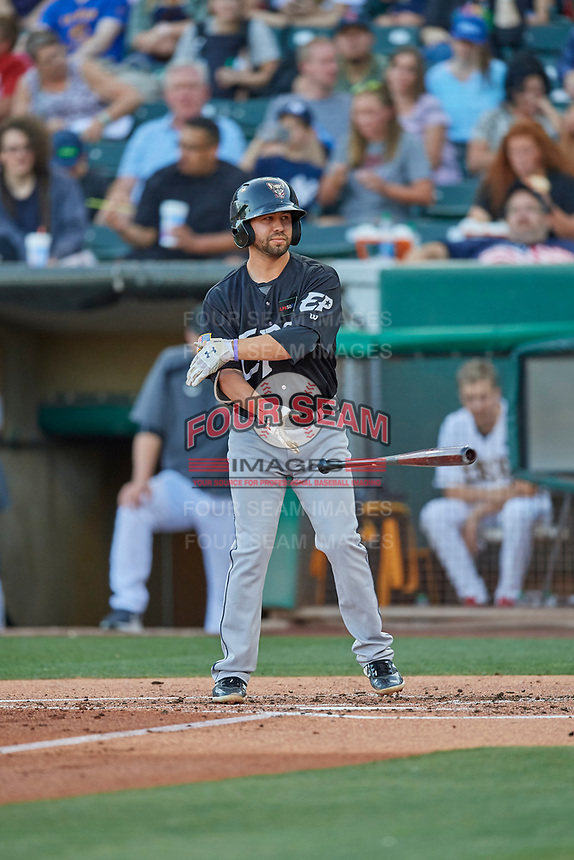 Peter Van Gansen (12) of the El Paso Chihuahuas at bat against the Salt Lake Bees at Smith's Ballpark on August 17, 2019 in Salt Lake City, Utah. The Bees defeated the Chihuahuas 5-4. (Stephen Smith/Four Seam Images)