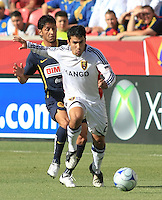 Angel Reyna and Tony Beltran in the Club America @ Real Salt Lake 0-1 RSL win at Rio Tinto Stadium in Sandy, Utah on July 11, 2009