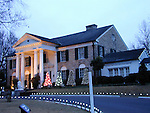Elvis Presley's home Graceland decorated for Christmas 2001 in Memphis, Tennessee.