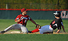 CJ Cumbo #8, Clarke second baseman, left, tags out Joe Paldino #9 of Mineola in the top of the seventh inning of a Nassau County Conference A-4 varsity baseball game played at BOCES Field in Westbury on Monday, May 7, 2018.