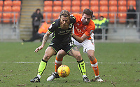 Blackpool's Clark Robertson battles with Bristol Rovers' Stuart Sinclair<br /> <br /> Photographer Mick Walker/CameraSport<br /> <br /> The EFL Sky Bet League One - Blackpool v Bristol Rovers - Saturday 13th January 2018 - Bloomfield Road - Blackpool<br /> <br /> World Copyright &copy; 2018 CameraSport. All rights reserved. 43 Linden Ave. Countesthorpe. Leicester. England. LE8 5PG - Tel: +44 (0) 116 277 4147 - admin@camerasport.com - www.camerasport.com