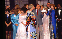 Washington DC., USA, May 20, 1983<br /> Bob Hope 80th birthday special at the Kennedy Center for the Performing Arts. His wife Dolores watches as Lucille Ball present Bob with a birthday cake. Surrounded by a host of hollywood stars including Tom Selleck, Brooke Shields, Ben Vereen. Credit: Mark Reinstein/MediaPunch