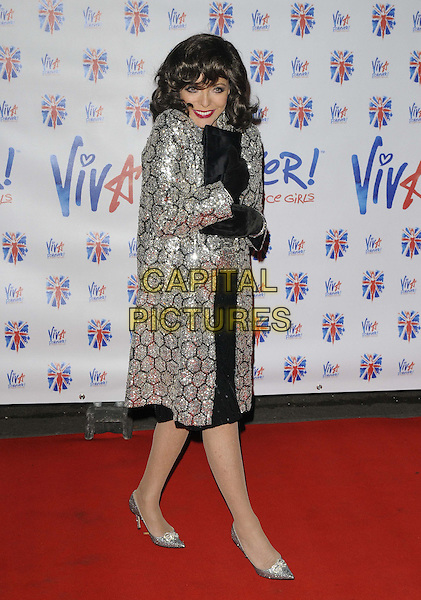 Joan Collins .The 'Viva Forever!' press night afterparty, Supernova, Embankment Gardens, London, England..December 11th, 2012.full length grey gray silver sequins sequined top skirt black clutch bag gloves .CAP/CAN.©Can Nguyen/Capital Pictures.