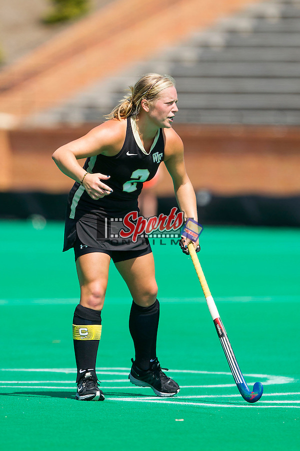 Taylor Rhea (2) of the Wake Forest Demon Deacons during first half action against the William & Mary Tribe at Kentner Stadium on September 15, 2013 in Winston-Salem, North Carolina.  The Demon Deacons defeated the Tribe 4-0.  (Brian Westerholt/Sports On Film)