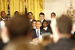 President Barack Obama greets a crowd during the UK National Championship Celebration in the East Room of the White House, in Washington D.C., May 4, 2012. Photo by Brandon Goodwin | Staff