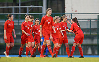 20191221 - WOLUWE: Woluwe players are celebrating the goal of  Stefanie Suenens during the Belgian Women's National Division 1 match between FC Femina WS Woluwe A and KAA Gent B on 21st December 2019 at State Fallon, Woluwe, Belgium. PHOTO: SPORTPIX.BE | SEVIL OKTEM