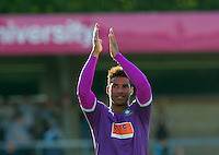 goal scorer Reuben Reid of Plymouth Argyle applauds the supporters during the Sky Bet League 2 match between Wycombe Wanderers and Plymouth Argyle at Adams Park, High Wycombe, England on 12 September 2015. Photo by Andy Rowland.