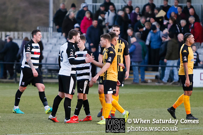 Players shake hands at full time. Darlington 1883 v Southport, National League North, 16th February 2019. The reborn Darlington 1883 share a ground with the town's Rugby Union club. <br />