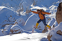 Goreme, Cappadocia, Nevsehir, Turkey, winter 2005. plowing through the snow between Zelve and Urgup The Valleys of the Goreme National Park offer some very good snow shoeing. Many people who visit in the summer do not realize that temperatures in winter can go as low as minus 25 celcius, with a meter of snow on the ground.Photo by Frits Meyst / MeystPhoto.com