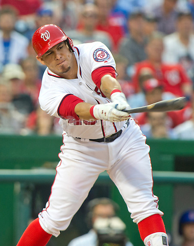 Washington Nationals catcher Wilson Ramos (40) bats in the eleventh inning against the Chicago Cubs at Nationals Park in Washington, D.C. on Wednesday, June 15, 2016.  The Nationals won the game 5 - 4 in 12 innings.<br /> Credit: Ron Sachs / CNP/MediaPunch ***FOR EDITORIAL USE ONLY***