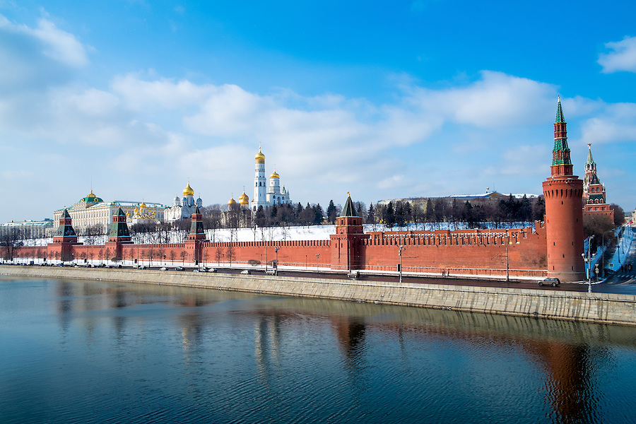 Day view of the Kremlin from the banks of the Moskva River in Moscow, Russia.