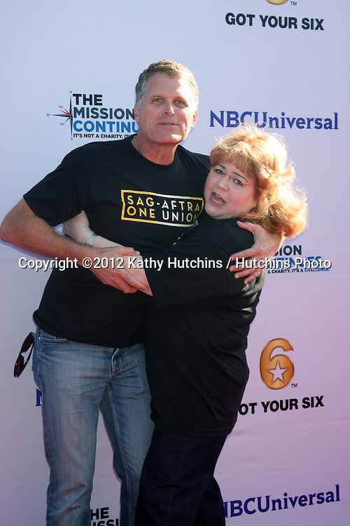 "LOS ANGELES - NOV 9:  Robert Newman, Patrika Darbo at the Veterans Day Service Event to feed LA Children sponsored by ""The Mission Continues"" and ""Got Your 6"" organizations. at Globe Theater at Universal Studios on November 9, 2012 in Los Angeles, CA"