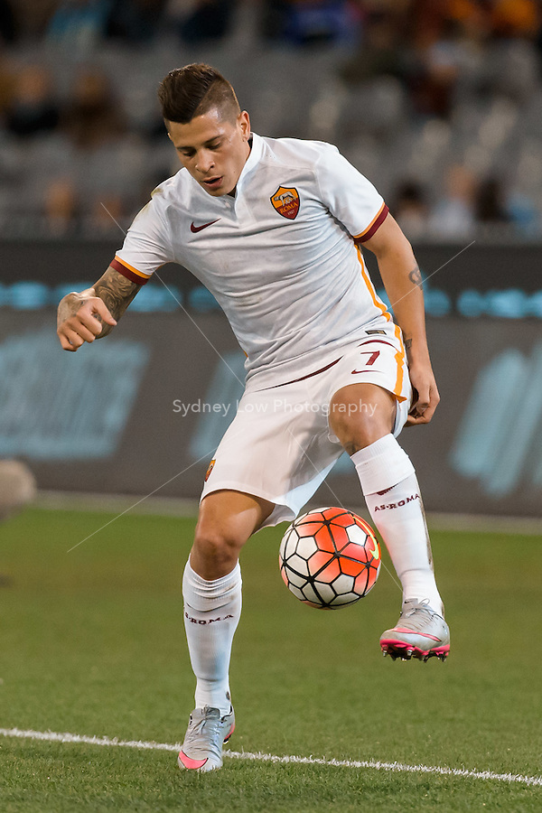 Melbourne, 21 July 2015 - Juan Iturbe of AS Roma controls the ball in game two of the International Champions Cup match at the Melbourne Cricket Ground, Australia. City def Roma 5-4 in Penalties. (Photo Sydney Low / AsteriskImages.com)
