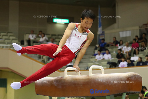 Koga Hiramatsu (), <br /> AUGUST 21, 2017 - Artistic Gymnastics : <br /> 48th All Japan Junior High School Championships <br /> Men's Individual All-Around <br /> Pommel Horse <br /> at Kitakyushu City General Gymnasium, Fukuoka, Japan. <br /> (Photo by YUTAKA/AFLO)
