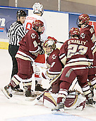Joe Cooper, Nathan Gerbe, Cory Schneider, Brian O'Hanley, Matt Greene - The Boston College Eagles defeated the Miami University Redhawks 5-0 in their Northeast Regional Semi-Final matchup on Friday, March 24, 2006, at the DCU Center in Worcester, MA.