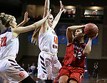 SIOUX FALLS, SD: MARCH 19:  Sara Lytle #32 of Union looks past Carson Newman defenders Jecca Simerly #40 Katie Stubblefield #20 during their game at the 2018 Division II Women's Elite 8 Basketball Championship at the Sanford Pentagon in Sioux Falls, S.D. (Photo by Dick Carlson/Inertia)