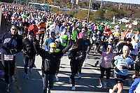 Runners from Wave Three cross the Verrazano-Narrows Bridge at the start of the ING New York City Marathon on Staten Island on 07 November 2010.