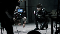 Behind the scenes photo of Claire Foy in The Girl in the Spider's Web (2018) <br /> *Filmstill - Editorial Use Only*<br /> CAP/RFS<br /> Image supplied by Capital Pictures