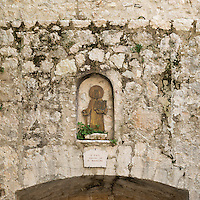 St Paul the aposte featured in exterior alcove in the medieval village of St Paul de Vance, Provence, France