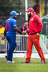Ashar Zaidi of Kowloon Cantons (L) shake hands with Misbah Ul-Haq of HKI United (R) during the Hong Kong T20 Blitz match between Kowloon Cantons and HKI United at Tin Kwong Road Recreation Ground on March 11, 2017 in Hong Kong, Hong Kong. Photo by Chris Wong / Power Sport Images