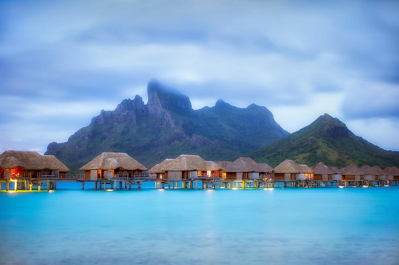 Pre sunrise and bungalows. Bora Bora. French Polynesia.