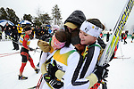 11 MAR 2011: Eliska Hajkova (4) of the University of Colorado is surrounded by teammates Joanne Reid and Alexa Turzian following the women's 15km Classical Cross Country races at the 2011 NCAA Men and Women's Division I Skiing Championship held Stowe Mountain Resort and Trapp Family Lodge in Stowe, VT. Hajkova finished first to win the national title. ©Brett Wilhelm/NCAA Photos