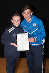 St Johnstone FC Academy Awards Night...06.04.15  Perth Concert Hall<br /> Craig Thomson presents a certificate to Logan Thoms<br /> Picture by Graeme Hart.<br /> Copyright Perthshire Picture Agency<br /> Tel: 01738 623350  Mobile: 07990 594431