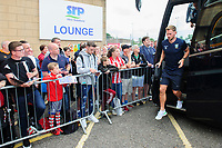 Sheffield Wednesday's Tom Lees gets off the team bus after arriving at Sincil Bank<br /> <br /> Photographer Chris Vaughan/CameraSport<br /> <br /> Football Pre-Season Friendly - Lincoln City v Sheffield Wednesday - Saturday July 13th 2019 - Sincil Bank - Lincoln<br /> <br /> World Copyright © 2019 CameraSport. All rights reserved. 43 Linden Ave. Countesthorpe. Leicester. England. LE8 5PG - Tel: +44 (0) 116 277 4147 - admin@camerasport.com - www.camerasport.com