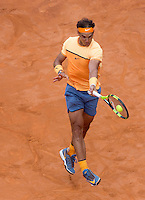 Lo spagnolo Rafael Nadal in azione nel corso degli Internazionali d'Italia di tennis a Roma, 13 maggio 2016.<br /> Spain's Rafael Nadal returns the ball to Serbia's Novak Djokovic during the italian Open tennis in Rome, 13 May 2016.<br /> UPDATE IMAGES PRESS/Riccardo De Luca