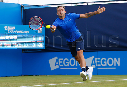 15.06.2016. Queens Club, London, England. Aegon Queens Tennis Championships Day Three. Daniel Evans (GBR) hits a forehand in his 1st round match against Paul-Henri Mathieu (FRA)