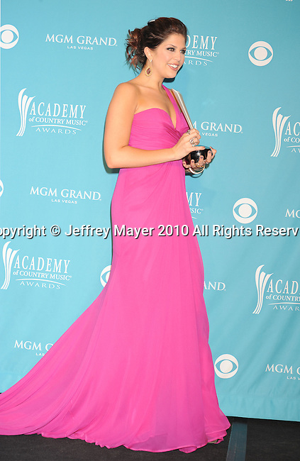 LAS VEGAS, NV. - April 18: Singer Hilary Scott of the band Lady Antebellum, winner of Song of the Year poses in the press room during the 45th Annual Academy of Country Music Awards at the MGM Grand Garden Arena on April 18, 2010 in Las Vegas, Nevada.
