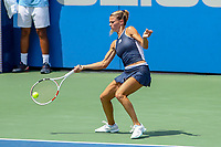 Washington, DC - August 4, 2019:  Camila Giorgi (ITA) bends to hit a forehand shot during the Citi Open WTA Singles final at William H.G. FitzGerald Tennis Center in Washington, DC  August 4, 2019.  (Photo by Elliott Brown/Media Images International)
