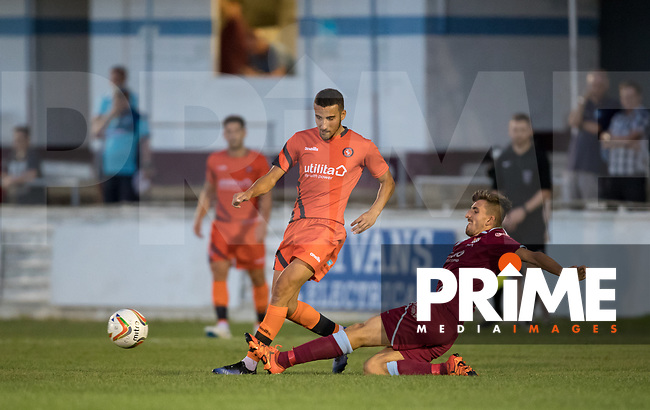 Nick Freeman of Wycombe Wanderers is tackled during the 2018/19 Pre Season Friendly match between Chesham United and Wycombe Wanderers at the Meadow , Chesham, England on 24 July 2018. Photo by Andy Rowland.