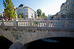 Slovenia, Ljubljana, Triple Bridge, Ljubljanica River, Presernov Trg, central square, old town, Baroque architecture, Europe,