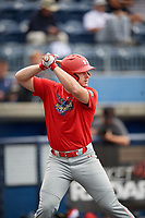 Nolan McLean (5) during the Under Armour All-America Game Practice, powered by Baseball Factory, on July 21, 2019 at Les Miller Field in Chicago, Illinois.  Nolan McLean attends Garner High School in Willow Springs, North Carolina and is committed to Oklahoma State University.  (Mike Janes/Four Seam Images)