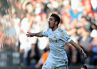 Saturday, 20 October 2012<br /> Pictured: Pablo Hernandez of Swanseacelebrating his opening goal.<br /> Re: Barclays Premier League, Swansea City FC v Wigan Athletic at the Liberty Stadium, south Wales.