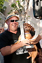 Small dog category winner. Christmas Eve dog races from Scotland Island to Church Point, Sydney, New South Wales